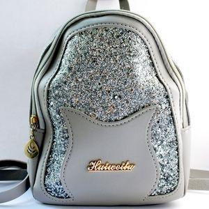 Silver,/ grey sequenced glitter mini bag backpack